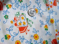 Vintage Feedsack Novelty Fabric    ORANGE & YELLOW by anne8865