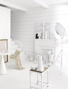 Interior Design. A pure white study room with hints of brown. Gives it a more modernized vintage and peaceful vibe towards the room.
