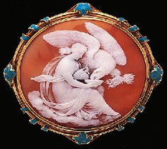 Shell Cameo Brooch with Enameled Frame Circa 1895