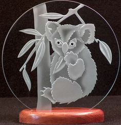 Items similar to Carved Glass Koala Bear on 9 in. Circle in Handcrafted Wooden Base on Etsy Glass Engraving, Ceramic Decor, Wooden Crafts, Glass Etching, Glass Design, Paper Art, Glass Art, Craft Projects, Carving
