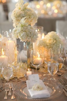 White roses or peonies will make for a luxurious bouquet, and as for wedding décor, orchids and hydrangeas make for gorgeous centerpieces sitting on white or ivory tablecloths.