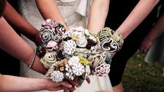 Gorgeous crochet bouquets at one of our weddings! Love these!