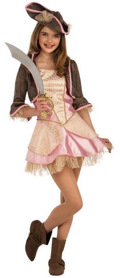 Tweens Pink Pirate Girl Halloween Costume $38.10 Gold and light pink pirate girl dress with tiered skirt, brown crop jacket with pink trim and the matching pirate girl hat. Teen Girls Costumes