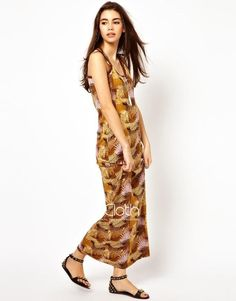KCLOTH Bohemian Style leaves Pattern Maxi Dress D1733 #KCloth