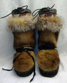 Genuine Mink Fox Fur Alaska Mukluk Boots Womens 8 8 5 9 New   eBay