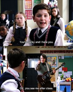 You're tacky and I hate you, my fav quote from this movie (: School of Rock! Black Characters, Movie Characters, Tv Quotes, Movie Quotes, Movies Showing, Movies And Tv Shows, Touchstone Pictures, Theater, School Of Rock