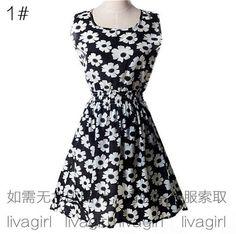 Summer Style Women Dress Casual Mini O-Neck Sleeveless Short A Line Dress Printed Party Evening 2015 Plus Size Elegant Dress