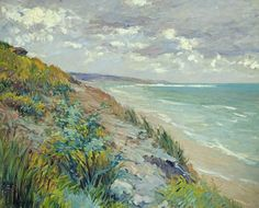 Cliffs By The Sea At Trouville  Painting by Gustave Caillebotte