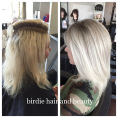"""""""My client was wanting to grow out her over #bleached hair. We softed the look with a reverse #balayage and finished with an #olaplex treatment for the…"""""""