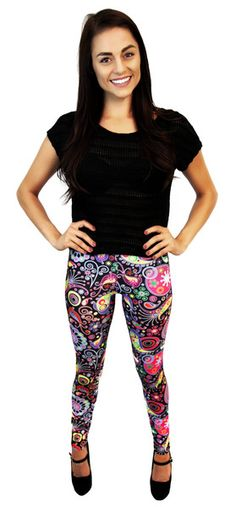 Funky Paisley Leggings ~ very fun, vibrant, 88% polyester/12% spandex leggings