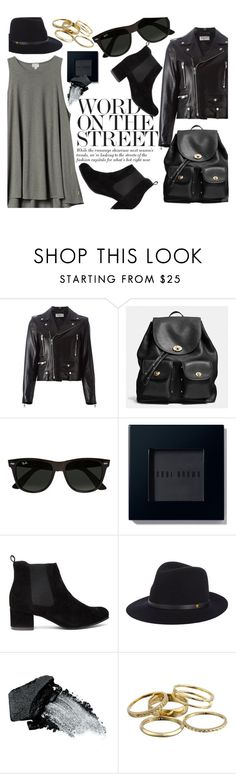 """""""Untitled #147"""" by cjcstyle ❤ liked on Polyvore featuring Yves Saint Laurent, Coach, H&M, Ray-Ban, Bobbi Brown Cosmetics, rag & bone, Gorgeous Cosmetics, Kendra Scott, women's clothing and women"""