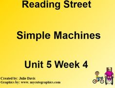 This is a SmartBoard activity to accompany Scott Foresman's Reading Street Unit 5 Simple Machines. This is a 5 day lesson with multiple activities for each day that include high frequency words against & heavy, suffixes -er and -or, diphthongs oi, oy, journal activities, games, videos and much more. This lesson also includes learning what great ideas make our lives easier, the wright brothers, and inventions. There is also lessons on main idea and pronouns. This follows the Reading Street…