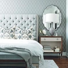 Chatelaine - bedrooms - blue and gray room,