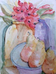 Pêras (Painting),  18x27  by Isabel Alfarrobinha Aguarela de uma natureza morta