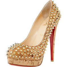 Christian Louboutin Altipump Spike Cork Pumps ($1,495) ❤ liked on Polyvore