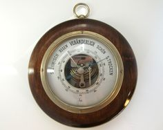 Mid Century German Weather Station.  Material: wood, glass & brass  Height: 55 mm (2.17)  Width: 135 mm (5.31)