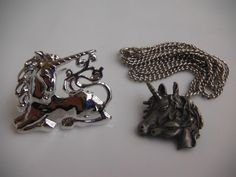 UNICORN Silver-Toned Brooch & Pewter Necklace