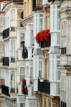 Balconies in Vitoria-Gasteiz, Spain. Vitoria-Gasteiz is the capital city of the province of Álava and of the autonomous community of the Basque Country in northern Spain.