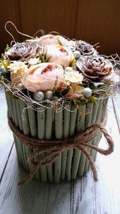 Virágos asztali dísz (merled) - Meska.hu