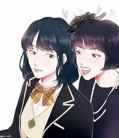 Yoonji and Hosuk Bts Chibi, Anime Chibi, Anime Manga, Otp, Min Yoonji, Army Love, Amazing Drawings, Bts Fans, Kpop Fanart