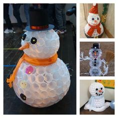 Making a snowman out of plastic cups is a cool idea if you want to have one indoors or you don't have snow where you live to make a real one. You staple plastic cups together to make the snowballs...