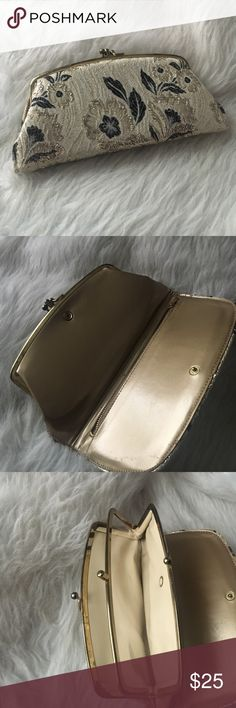 Vintage Glam Clutch Cream colored cloth material clutch embroidered with gold and black flowers. Vinyl Interior in pristine condition.  Excellent overall vintage condition! 😍 perfect for an elegant evening out. iPhone cannot fit inside purse. Bags Clutches & Wristlets