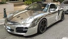 porsche cayman in chrome wrap by elite wrap