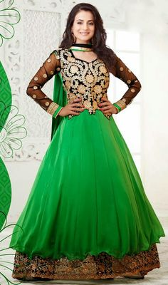 Look stunningly beautiful like Ameesha Patel, dressed in this black and green georgette designer suit. The lovely lace, patch and resham work a significant element of this dress. #AmazingBollywoodCollection