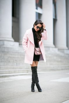 San Francisco :: Rose coat & Turtleneck sweater dress | Wendy's Lookbook