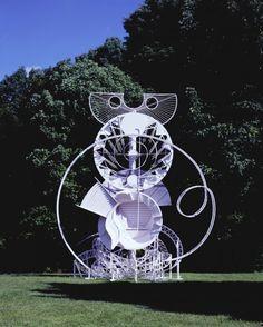 Fantasy Sculpture II 1990 Painted steel, wood covered with fiberglass, vegetation 15 feet diameter at base, 24 feet high, 20 feet overall width