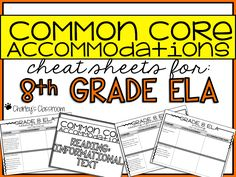 """Teaching your special education students to the common core standards? Whether you're a regular education teacher, special education pull-out teacher, or special education inclusion teacher, never forget how you adapted/modified a specific standard you have taught again!  This no fuss or frills """"cheat sheet"""" allows you to keep notes on how you adapted/modified lessons you've taught. Perfect for keeping track of adapted assignments. - i.e. homework, tests, projects, etc."""