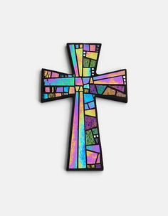 Mosaic Wall Cross, Large, Black with Rainbow Glass, Handmade Stained Glass Mosaic Cross Wall Decor, x Mosaic Wall, Mosaic Glass, Fused Glass, Mosaic Crosses, Wall Crosses, Stained Glass Projects, Stained Glass Patterns, Mosaic Company, Stain Glass Cross
