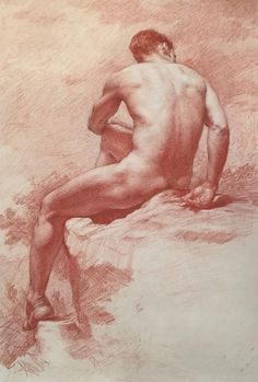 100 Artists of the Male Figure, bloghqualls:   Anthony Baus / red pencil on toned...