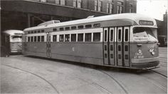 #1281 Skirted PCC  Cottage Grove car barn  Chicago Transit Authority