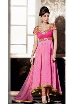 Party Wear Pink Georgette Anarkali Suit - FA383-5001