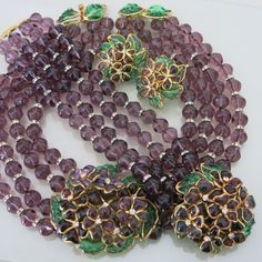 Vtg L'Atelier De Verre Gripoix Haute Couture Glass Necklace Bracelet Earrings