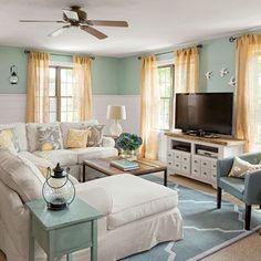 Blue and White Coastal Cottage living room before and after / Living room makeover #livingroomfurniture