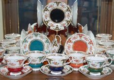 Royal Albert - Dorchester Series of Six:  Red, Blue, Green, Turquoise, Black, and Orange..c.1960s-70s