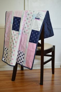 Baby Blanket, Baby Quilt, Baby Girl, Toddler Crib Bedding, Nautical Preppy Pink Navy Blue White, Baby Whale Narwhal Polka Dots and Chevrons