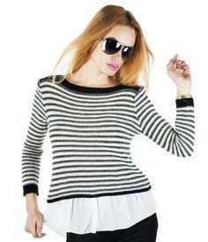 Pulover Dama Shirt Style  Pulover dama ce cade frumos pe corp. Model inspirat, modern, ce poate fi purtat cu usurinta in sezonul rece. Design cool, ce imbina perfect doua material si ii confera un plus de stil.  Detaliu - insertie fina de fir lame in tesatura.     Lungime totala fata: 58cm  Lungime totala spate: 66cm  Latime talie: 36cm  Compozitie: 95%Acryl, 5%Elasten Shirt Style, Shirts, Women, Fashion, Moda, Fashion Styles, Dress Shirts, Fashion Illustrations, Shirt