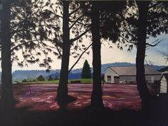 """willamette 2013 . original $1,800 . prints starting at $22 . 30"""" x 40"""" . acrylic . We'd rented a little house in the pines and watched the mists recede over the vineyards as the day began."""