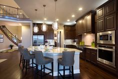 McMillin Homes - Copper Ridge with Mary Dewalt Design Group NPD Items: Charlotte Fabric Counter Stool Kitchen Shop, Kitchen Dining, Kitchen Island, Dining Room, Aging In Place, Beautiful Home Designs, Home Board, Texas Homes, My Dream Home