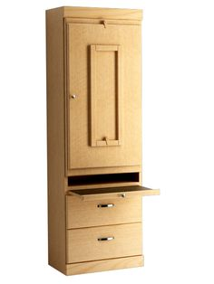 Shaker Style Bookcase with Drop Down Table in Oak - Honey Finish.  Shown with Pullout Table Open