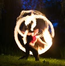 fire spinning poi