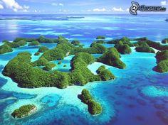 islas tropicales, el mar azul