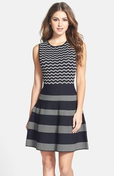 CeCe by Cynthia Steffe Jacquard Knit Fit & Flare Dress available at #Nordstrom