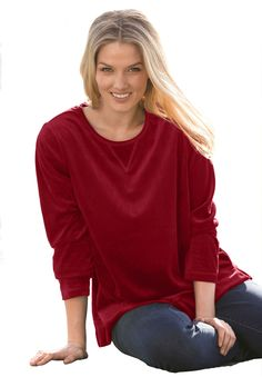 This plus size sweatshirt in ultra plush velour will have you feeling warm, cozy and feminine all day long! #fashion #style