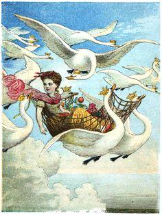 The Wild Swans -- Unknown Illustrator -- Fairytale Illustration