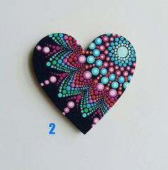 Mandala Dot Art Hearts Magnets, Dot Painting Fridge Magnets, Wooden Magnets Mandala Dot Art Herzen Magnete This image has get. Stone Art Painting, Dot Art Painting, Mandala Painting, Pebble Painting, Pebble Art, Mandala Painted Rocks, Mandala Rocks, Rock Painting Patterns, Rock Painting Designs