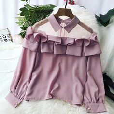 Neploe Mesh See-through Patchwork Shirts Turn-down Collar Solid Ruffles Blusas Long Sleeve Autumn Chiffon Women Blouse Girls Fashion Clothes, Teen Fashion Outfits, Cute Fashion, Trendy Fashion, Girl Fashion, Womens Fashion, Casual Skirt Outfits, Stylish Dresses, Stylish Outfits